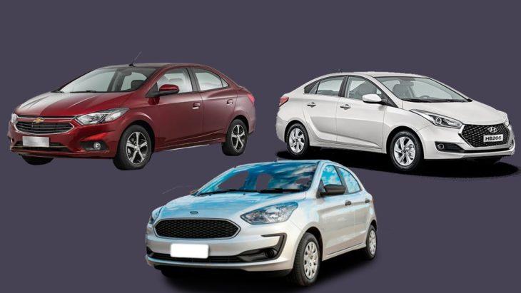 Veja o comparativo entre os sedans Prisma, Ka e HB20 S.