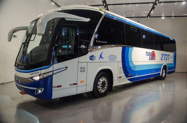 ônibus movido a GNV feito pela Marcopolo e Scania